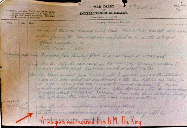 War Diary April 21 1915 (arrow)